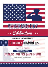 Verterans Day Celebration Flyer A6 template