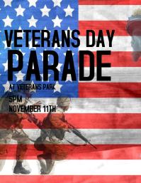 verterans day parade flyer template