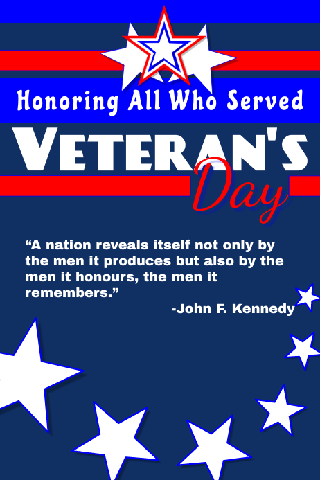 Veteran's Day 2018 Poster template