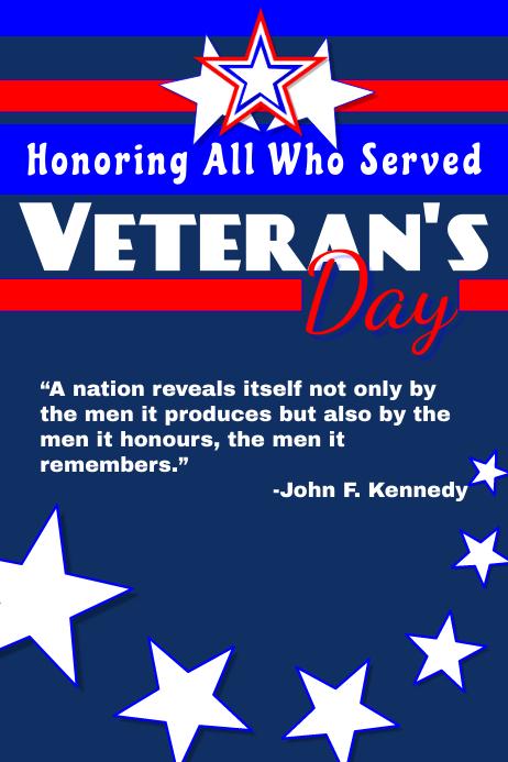 Veteran's Day 2018 Plakat template