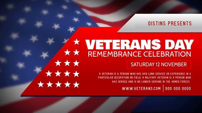 Veteran's Day Celebration Digital Display Video Ekran reklamowy (16:9) template