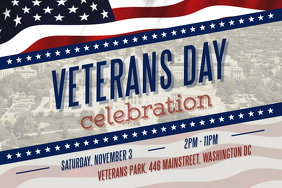 Veteran's Day Celebration Landscape Poster 海报 template