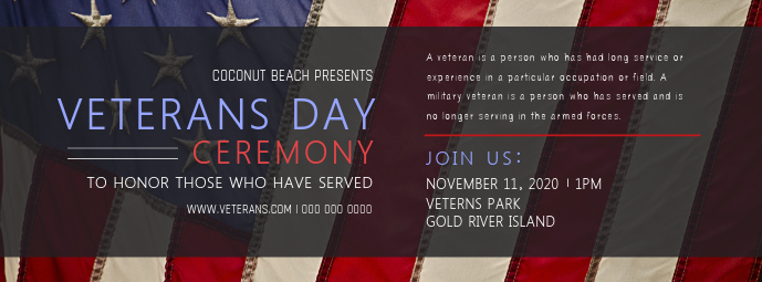 Veteran's Day Ceremony Facebook Cover Photo Facebook-coverfoto template