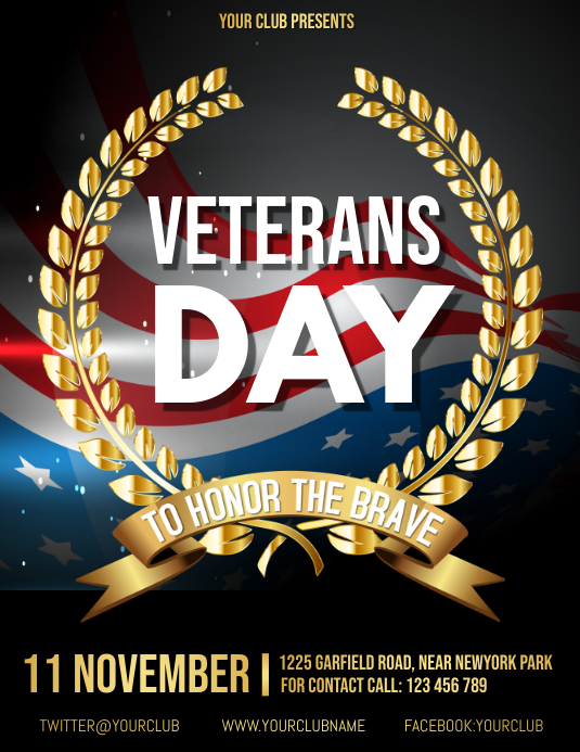 Veteran's day flyer, armistice day template