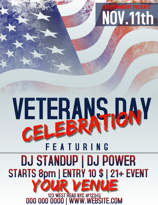 VETERANCE DAY FLYER Løbeseddel (US Letter) template