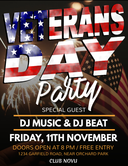 Veterans day, Labor Day Flyer, Worker's Day