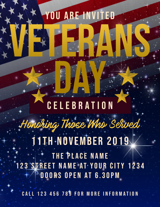 Veterans Day Celebration Løbeseddel (US Letter) template
