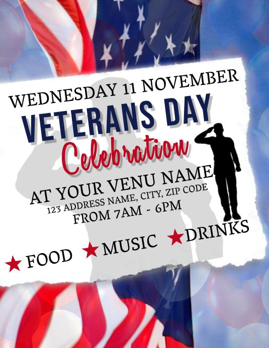 Veterans Day Celebration Event Flyer Template 传单(美国信函)