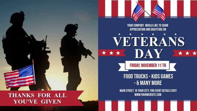 Veterans Day Event Facebook Cover Video template
