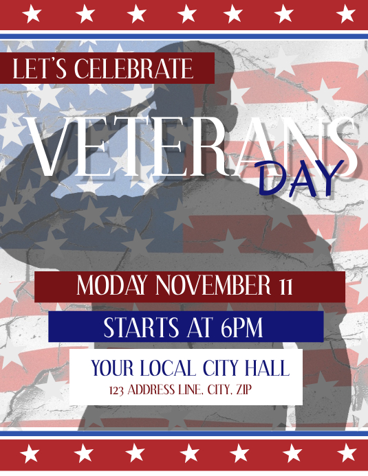 Veterans Day Event Flyer Template Løbeseddel (US Letter)