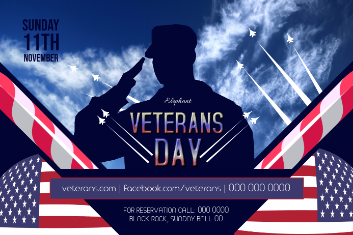 Veterans Day Event Landscape Poster template