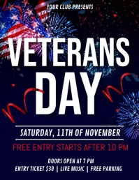 veterans day flyer, veterans day video Folheto (US Letter) template