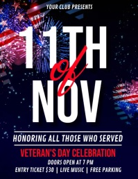 veterans day flyer, veterans day video Pamflet (Letter AS) template