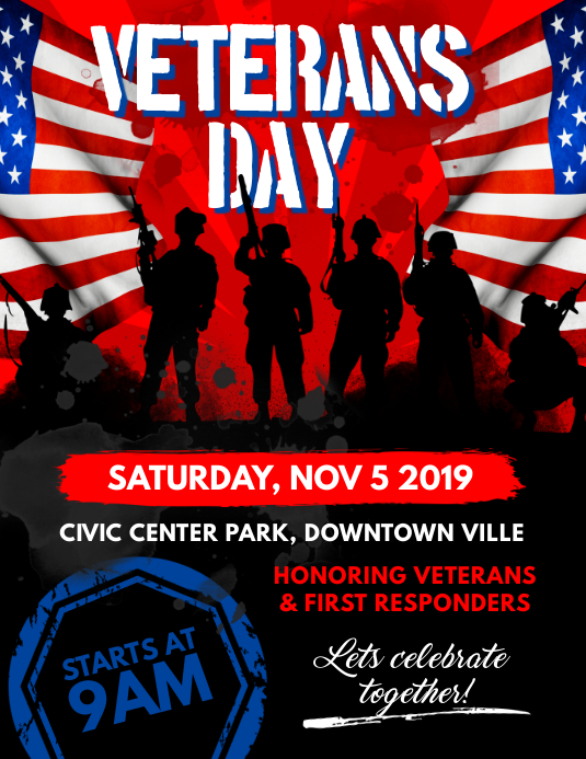 Veterans Day Flyer Template Postermywall