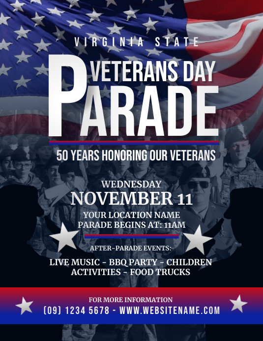 Veterans Day Parade flyer template