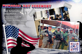 Veterans day poster with a flag QR code