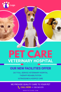 Veterinary Pet Clinic Flyer Poster template