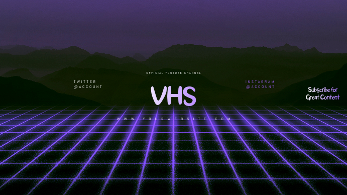 VHS Youtube Channel Art Banner template