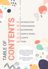 Vibrant colorful Table of Contents