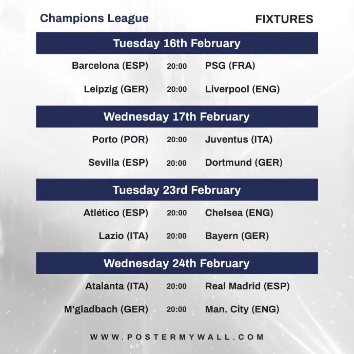 Video Champions League Fixtures Instagram Wpis na Instagrama template