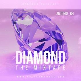 Video Diamond Pink Mixtape Music CD Cover Square (1:1) template