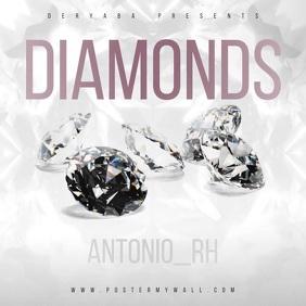 Video Diamonds White Silver Music CD Cover Square (1:1) template