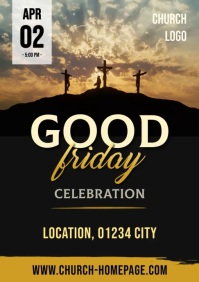 Video Flyer / Poster Good Friday Church Servi A4 template
