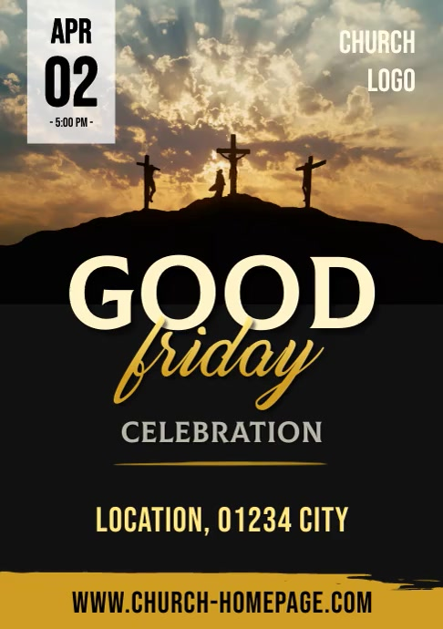Video Flyer / Poster Good Friday Church Servi A4 template