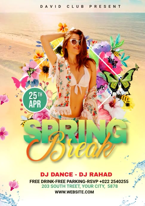 Video Flyer Template For Spring Break A4