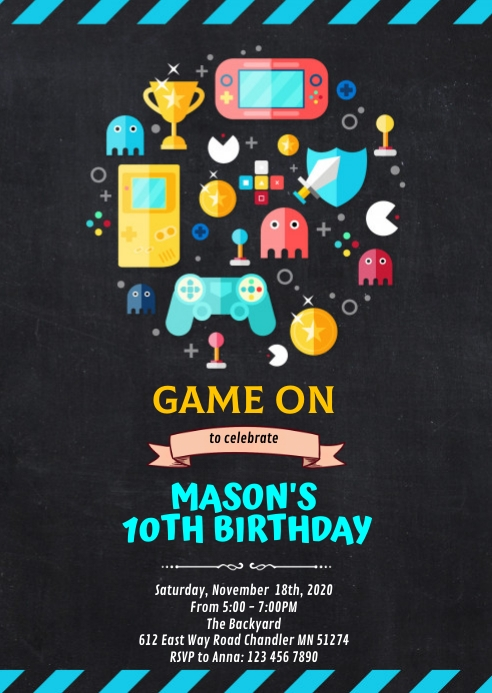 Video game birthday party invitation A6 template