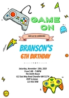 Video Game on party invitation A6 template