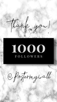 Video Insta Story Followers Thank You Marble template