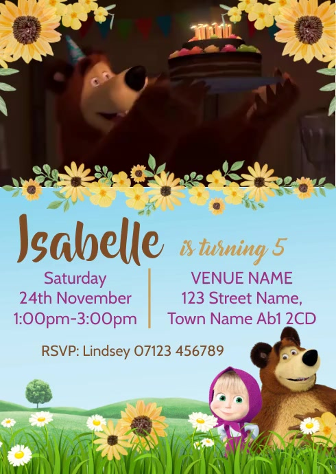 Video Invitation Masha and Bear Birthday Part