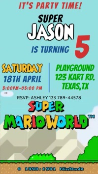 Video Invitation Super Mario World Party With Digital Display (9:16) template