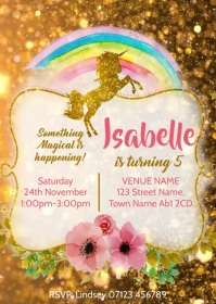 Video Invitation Unicorn Birthday Party 01 A6 template