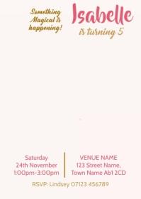 Video Invitation Unicorn Birthday Party 02 A6 template