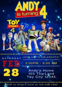 Video Invite Toy Story 4 Party Forky 16 A6 template