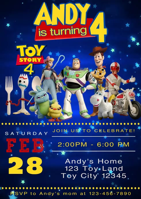 video invite toy story 4 party forky 16 template