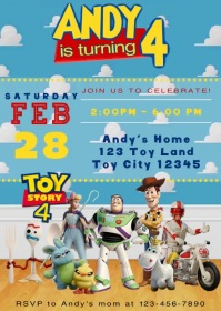 Video Invite Toy Story 4 Party Forky 17 A6 template