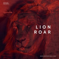 Video Lion Roar Colorful Mixtape CD Cover Square (1:1) template