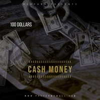 Video Money Dollar Mixtape CD Cover Art Cuadrado (1:1) template