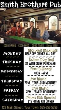 Video Pub Drinking at the Bar Digital Display (9:16) template