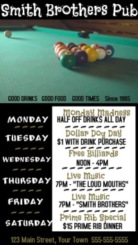 Video Pub Specials Billiards