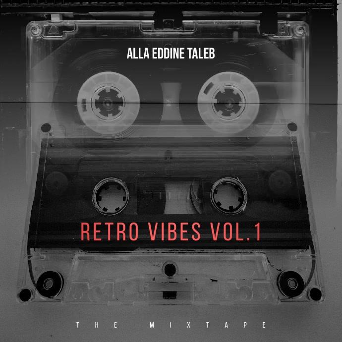 Video Retro Cassette tape Compact cd cover Square (1:1) template