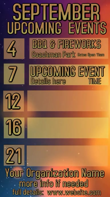 Video September Upcoming Events Calendar