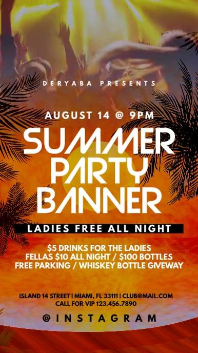 Video Summer Party Instagram Banner Template Цифровой дисплей (9 : 16)