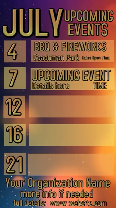 Video Upcoming Events Calendar