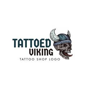 viking skul tatooes icon logo Logotipo template