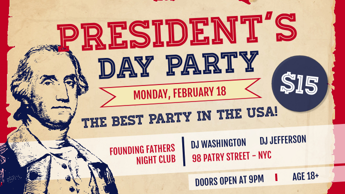 Vintage President's Day Party Digital Display Image Ekran reklamowy (16:9) template