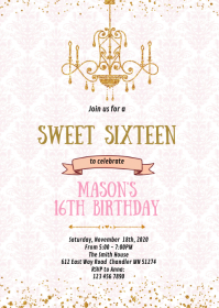 Vintage 16th birthday party invitation